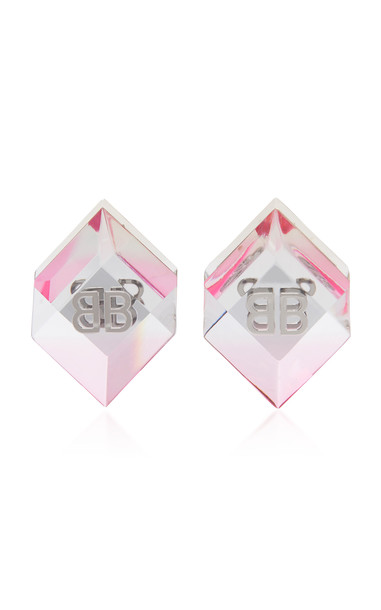 Balenciaga Cube Logo Resin and Brass Earrings in pink