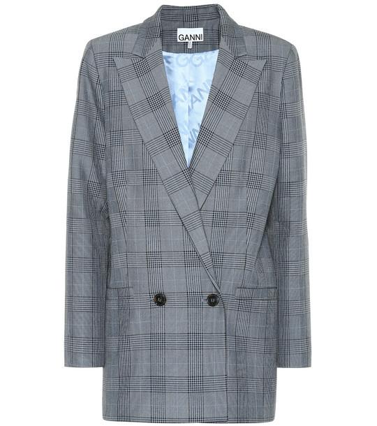 Ganni Checked blazer in blue
