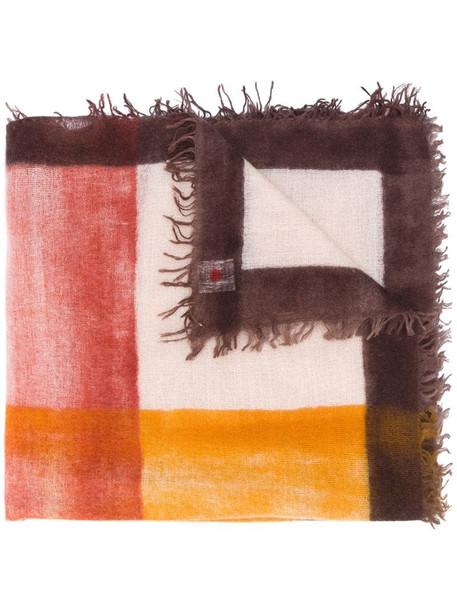 Faliero Sarti bold check print scarf in brown