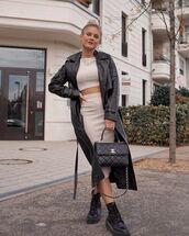 coat,black coat,black boots,ankle boots,midi skirt,bodycon skirt,crop tops