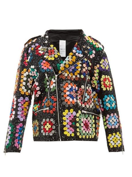 Ashish - Sequinned Crochet Effect Biker Jacket - Womens - Black Multi
