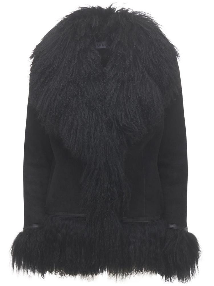 SAKS POTTS Bon Short Shearling Jacket in black