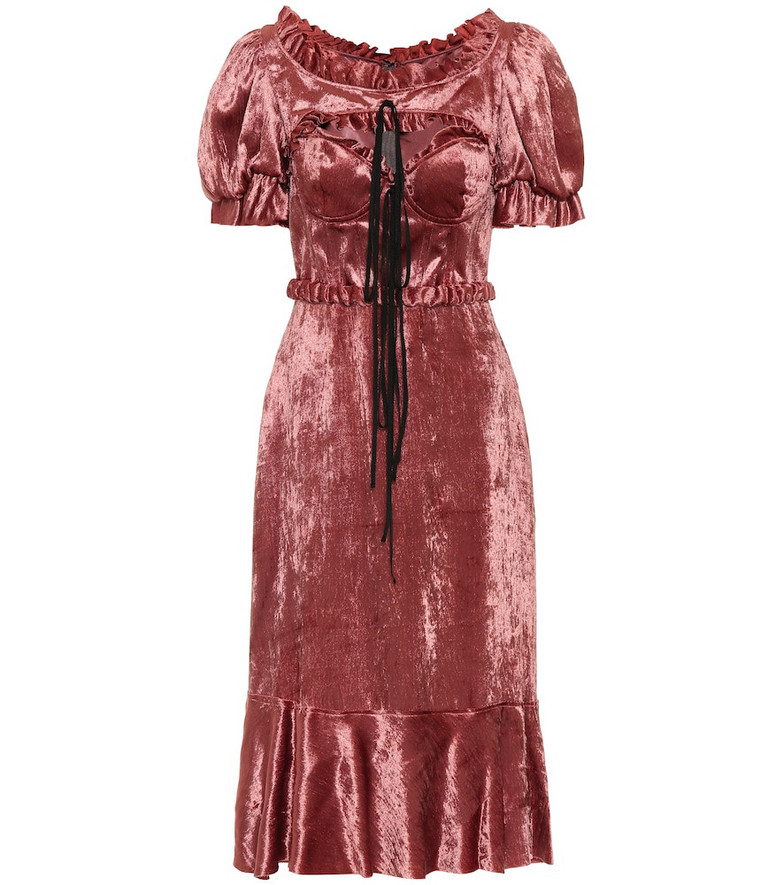 Brock Collection Petya velvet midi dress in pink