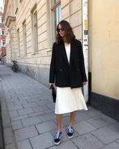 dress,white dress,midi dress,vans,sneakers,black blazer,double breasted,black bag,handbag