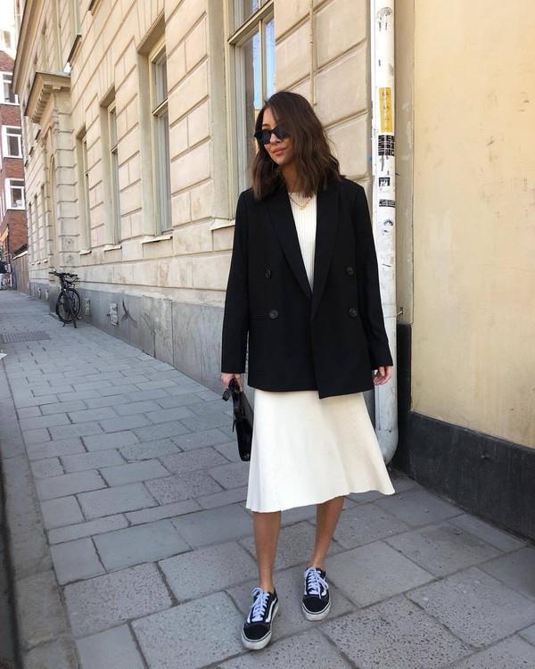 dress white dress midi dress vans sneakers black blazer double breasted black bag handbag