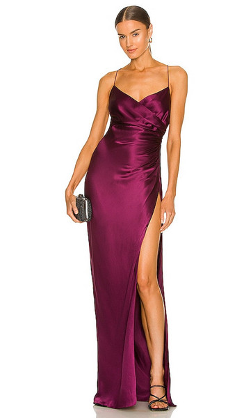 The Sei X REVOLVE Strappy Gathered Gown in Wine in plum