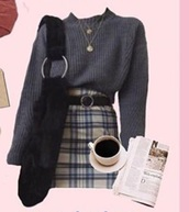 skirt,plaid,yellow skirt,blue skirt,plaid skirt,gingham skirt,tartan skirt,sweater,grey sweater,grey jumper,charcoal,ribbed sweater,ribbed jumper,grey ribbed jumper