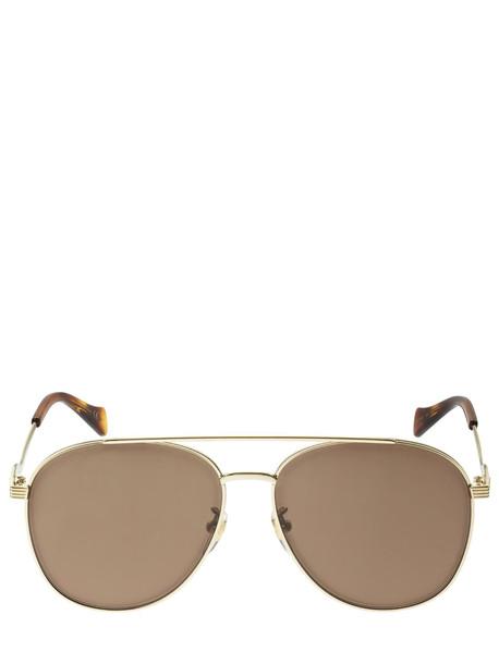 GUCCI Aviator Metal Sunglasses in brown / gold