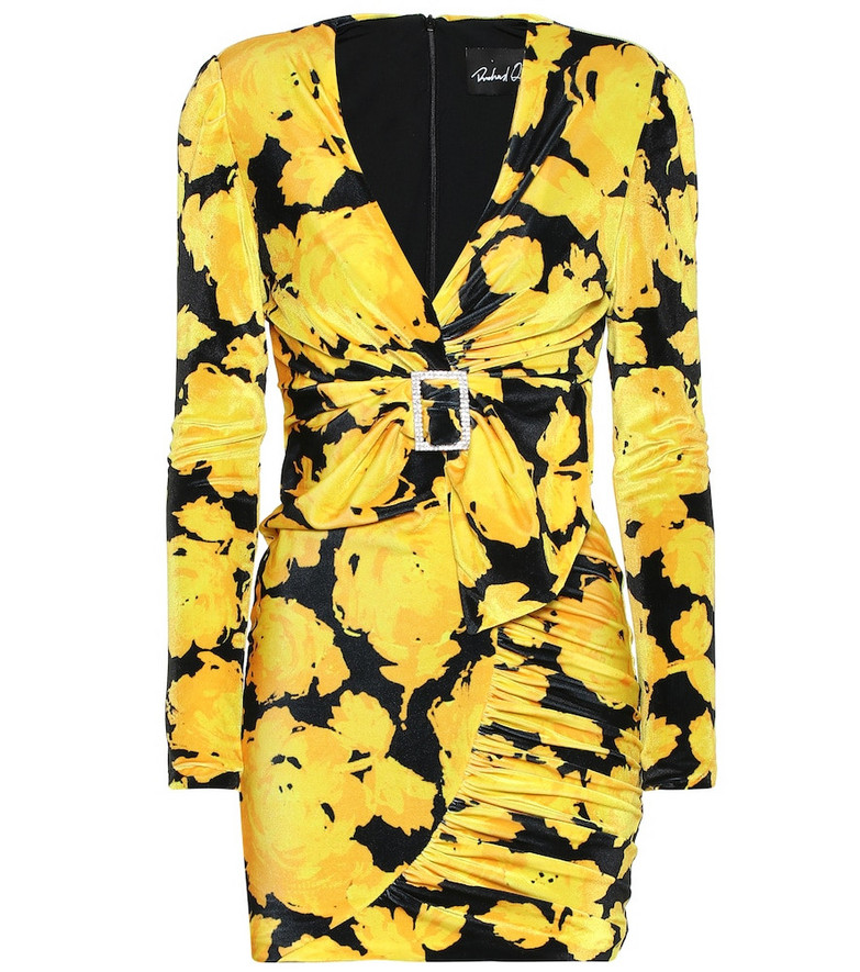 Richard Quinn Floral jersey minidress in yellow