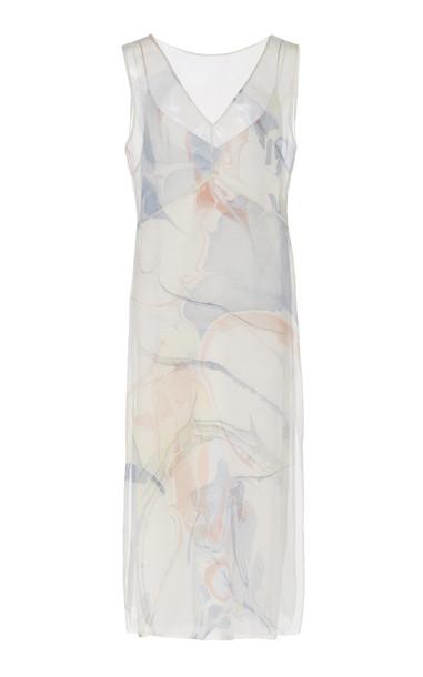 Marina Moscone Marbled Silk Midi Dress in multi