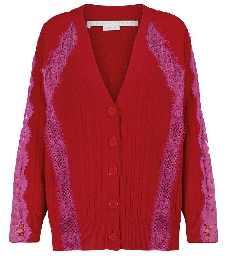 Stella McCartney Lace-trimmed wool cardigan in red