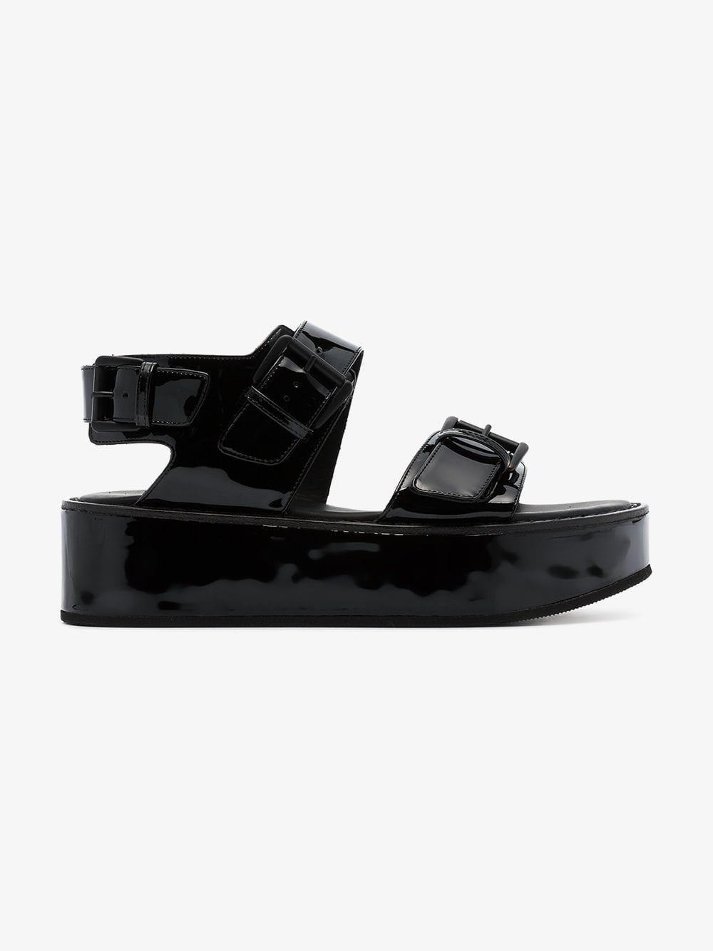 Ann Demeulemeester Platform leather sandals in black