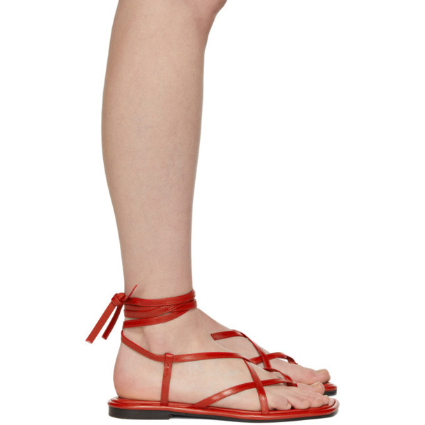 Proenza Schouler Red Strappy Flat Sandals