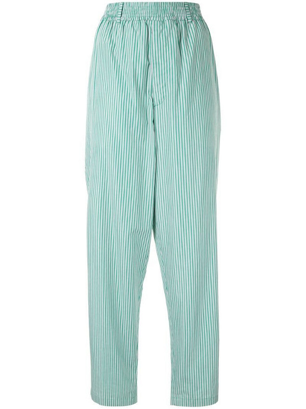 Hermès pre-owned striped straight-leg trousers in green