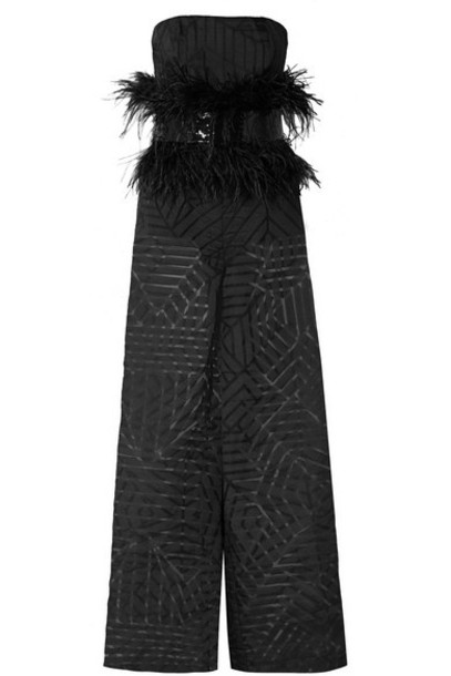 SemSem - Feather And Sequin-embellished Devoré-organza Jumpsuit - Black