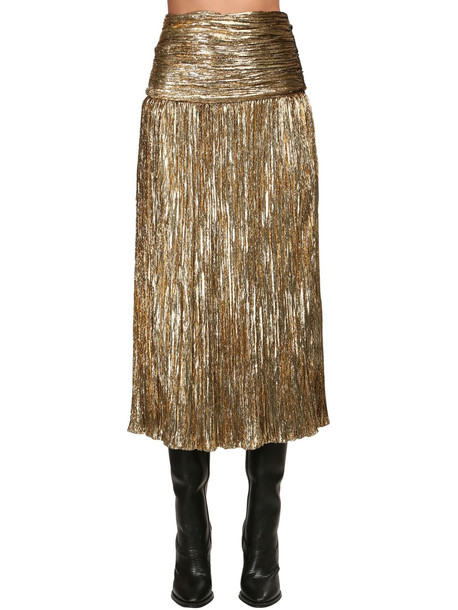SAINT LAURENT Lurex Velour Midi Skirt in gold