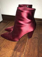 shoes,boots,purple,high heels,mango,zip,satin,burgundy,shiny,glossy,ankle boots