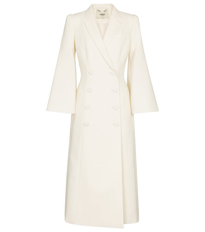 Fendi Double-breasted wool-blend coat in white
