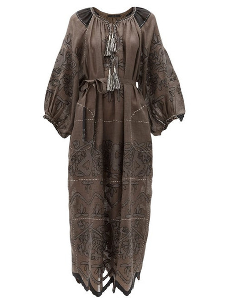 Vita Kin - Mirela Floral-embroidered Linen Dress - Womens - Dark Grey