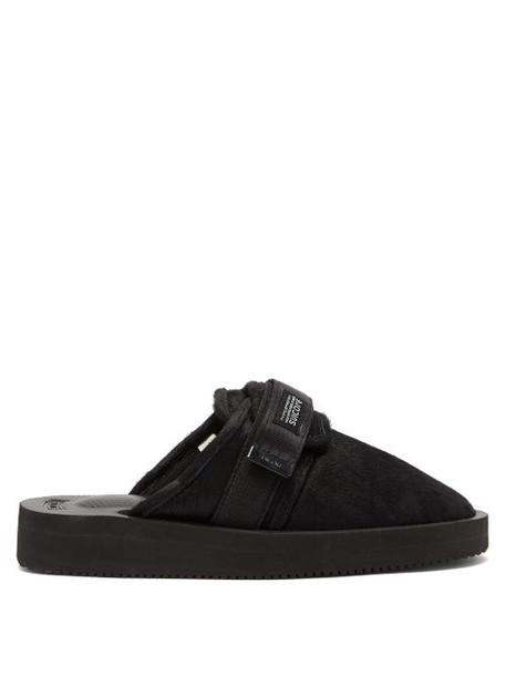 Suicoke - Zavo Calf Hair Closed Toe Slides - Womens - Black
