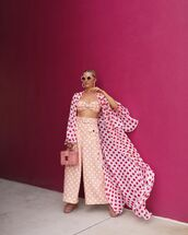pants,wide-leg pants,polka dots,pink pants,kimono,pink bag,boxed bag,crop tops,zimmermann