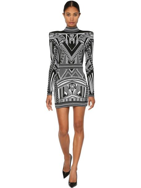 BALMAIN Knit Jacquard Backless Mini Dress in black / white