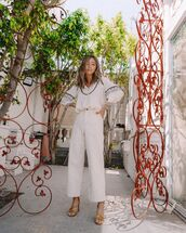 top,white shirt,wide-leg pants,white pants,high waisted pants,sandals