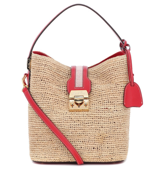 Mark Cross Murphy leather and raffia bag in beige