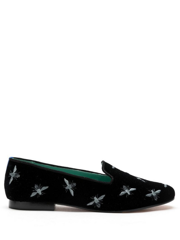 Blue Bird Shoes embroidered bee motif velvet loafers in black