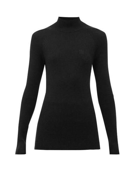 Fendi - Logo-embroidered Wool-blend Sweater - Womens - Black