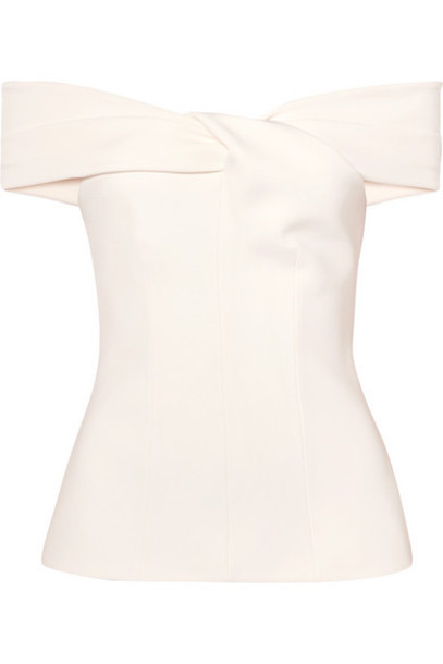 Safiyaa - Off-the-shoulder Twist-front Cady Top - Ivory