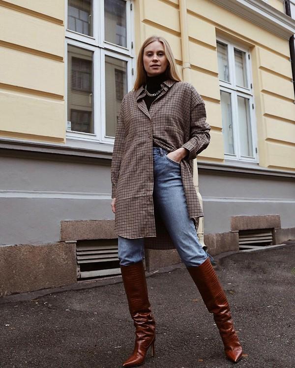 dress shirt dress plaid shirt knee high boots skinny jeans black turtleneck top