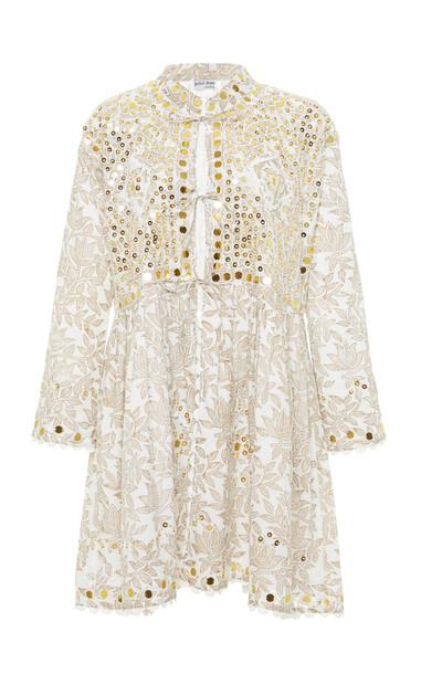Juliet Dunn Bhuj Block Print Cotton Jacket in white