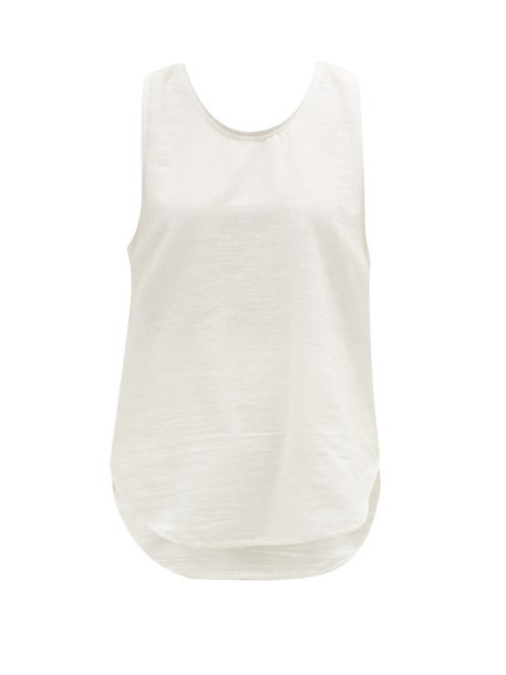 Marrakshi Life - Scoop-hem Cotton-blend Jersey Tank Top - Womens - Ivory