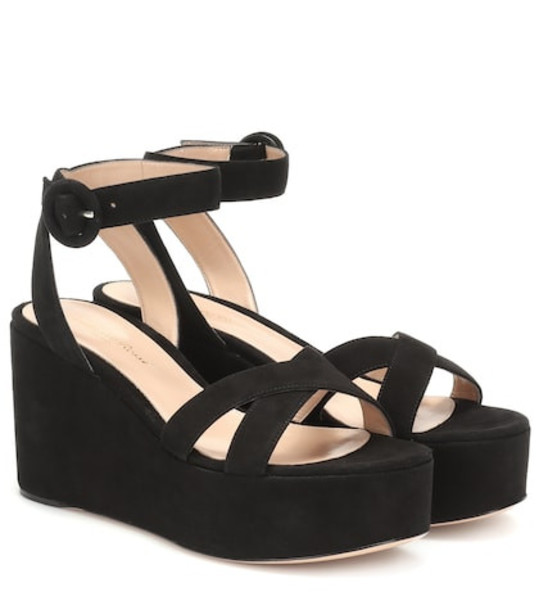 Gianvito Rossi Billie suede platform sandals in black
