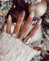 make-up,nail polish,nails,nail art,sweater,christmas,ring
