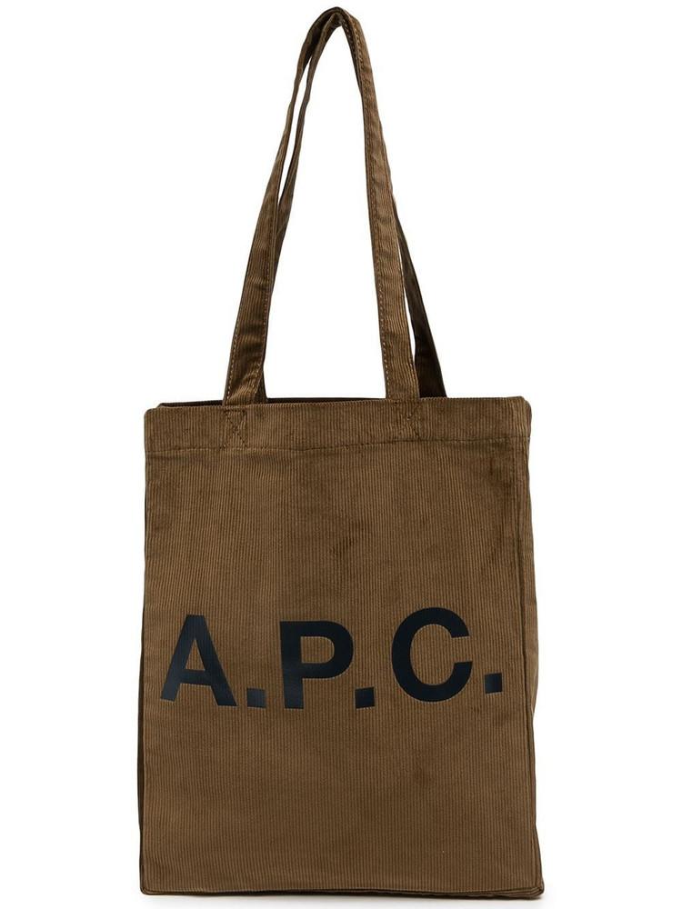 A.P.C. A.P.C. logo-print ribbed tote - Brown