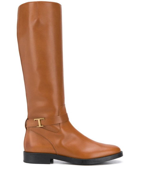 Tod's logo plaque knee boots in brown