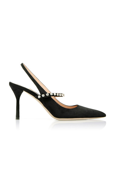 Miu Miu Jeweled Suede Slingback Pumps Size: 36 in black