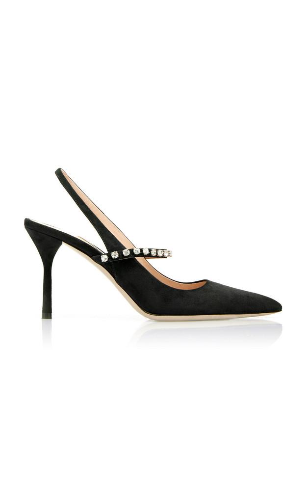 Miu Miu Jeweled Suede Slingback Pumps Size: 36 in black
