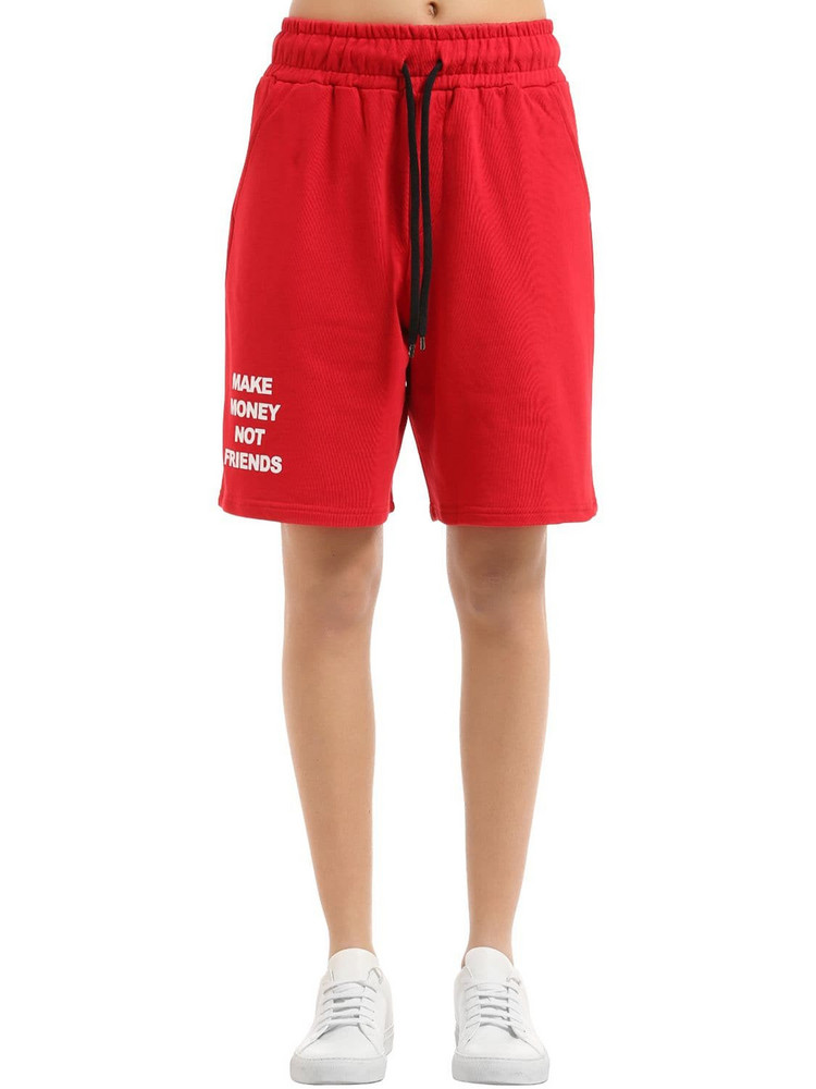 MAKE MONEY NOT FRIENDS Logo Cotton Sweat Shorts in red