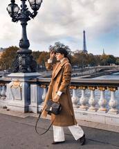 bag,louis vuitton bag,brown bag,wide-leg pants,white pants,brown boots,beige coat,long coat,h&m,double breasted,white sweater,turtleneck sweater,beret