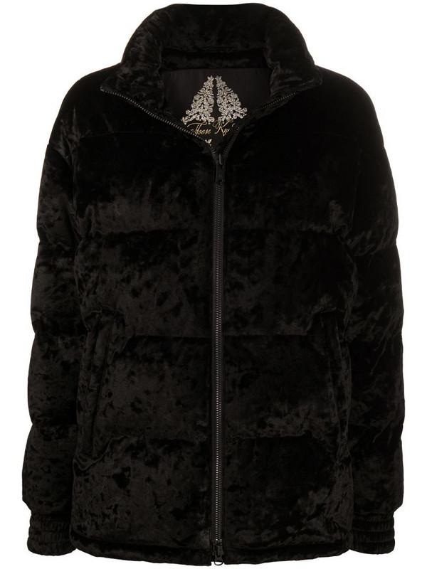 Moose Knuckles velvet puffer jacket in black
