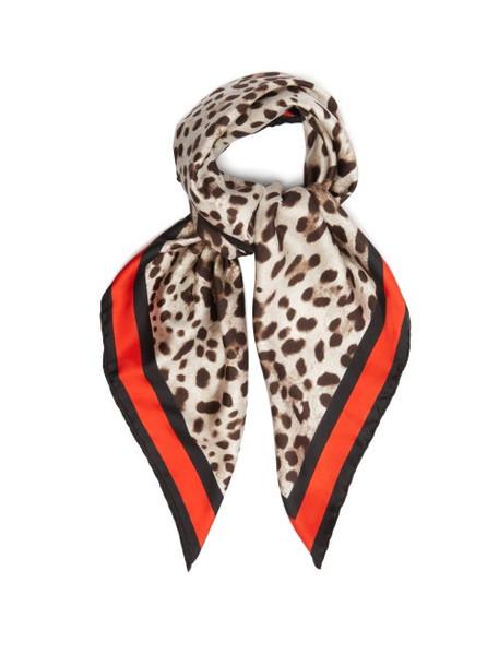 Dolce & Gabbana - Leopard Print Silk Twill Scarf - Womens - Brown