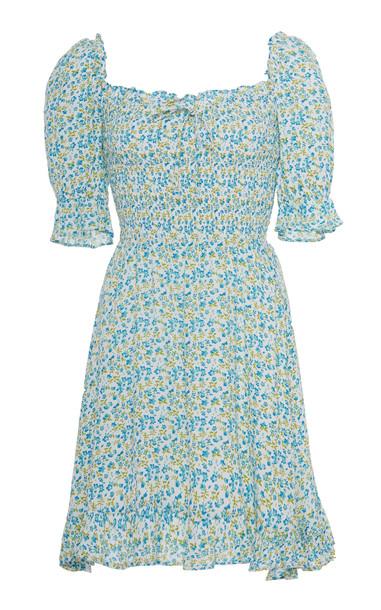 Faithfull The Brand Donna Floral-Print Crepe Mini Dress Size: XS