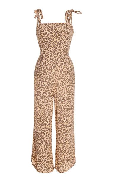 Faithfull The Brand Elsa Leopard-Print Voile Jumpsuit Size: XS