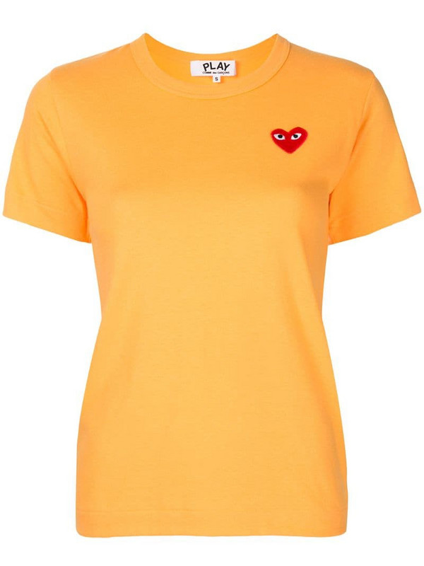 Comme Des Garçons Play embroidered heart patch slim fit T-shirt in orange