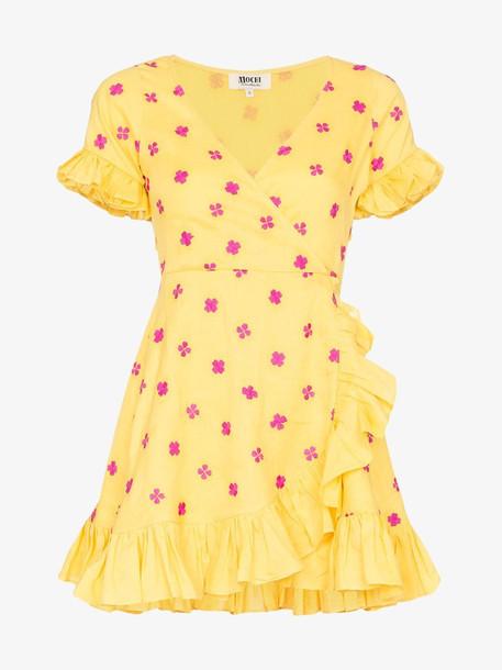 All Things Mochi Dory ruffled wrap dress in yellow