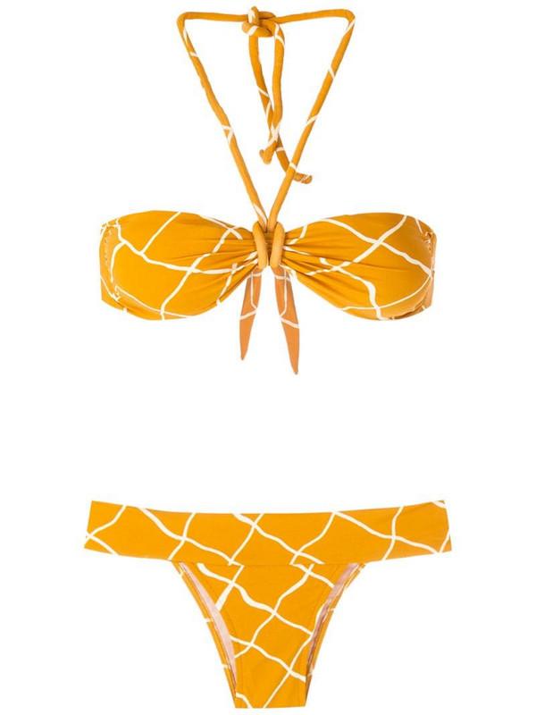 ESC TQC print bikini set in yellow