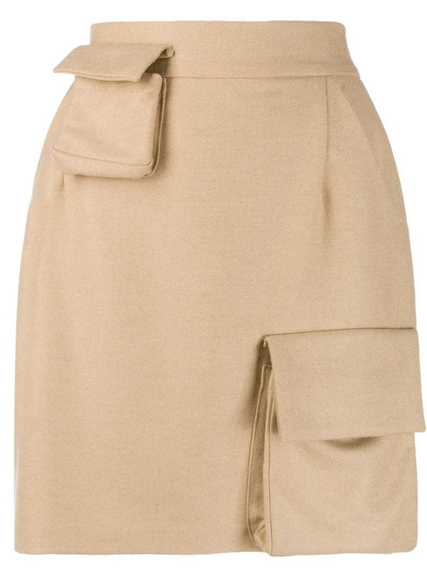 Natasha Zinko high-waisted multi-pocket skirt in neutrals